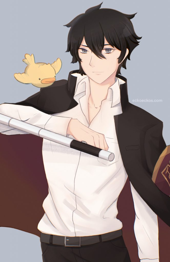 hibari kyoya from hitman reborn boy wearing a school uniform with black hair and holding tonfas